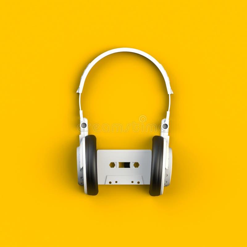 Fermez-vous de la cassette blanche de bande audio de cru avec l'illustration de concept de casque sur le fond jaune photos libres de droits