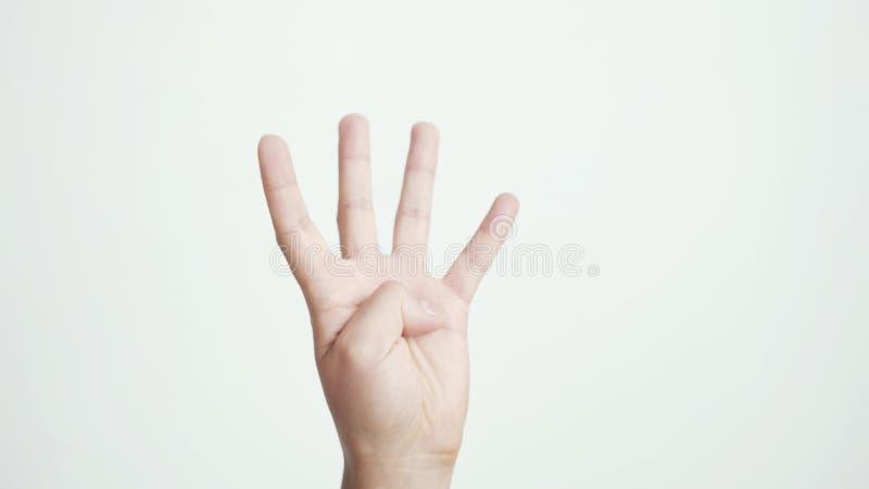 Fermez-vous de la main femelle d'isolement montre quatre doigts d'isolement sur le fond blanc photo libre de droits