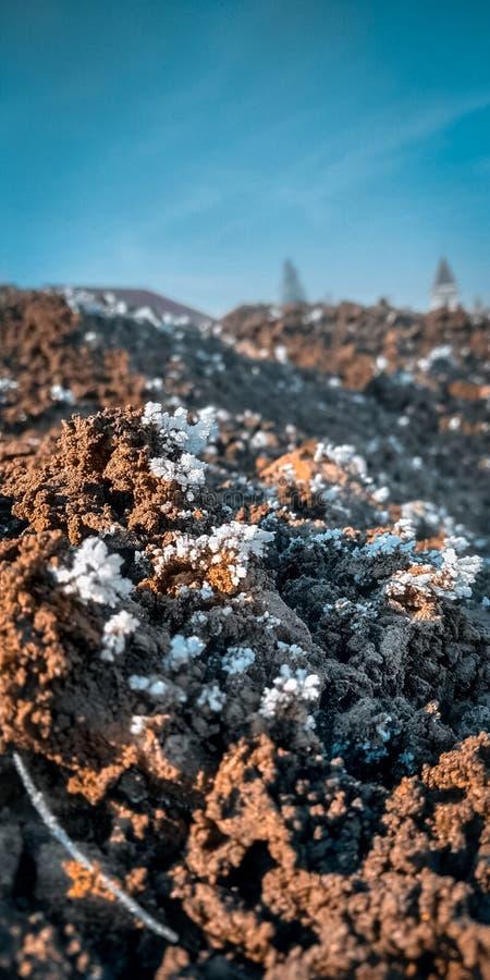 Fermez-vous de la pile congelée de sable avec la neige photo stock