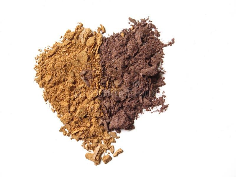 Fermez-vous de la poudre écrasée de cosmétique de fard à paupières photo stock