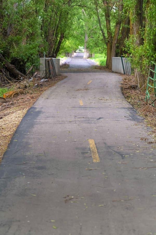Fermez-vous de la route pavée avec les lignes jaunes fanées au milieu un jour ensoleillé photos libres de droits