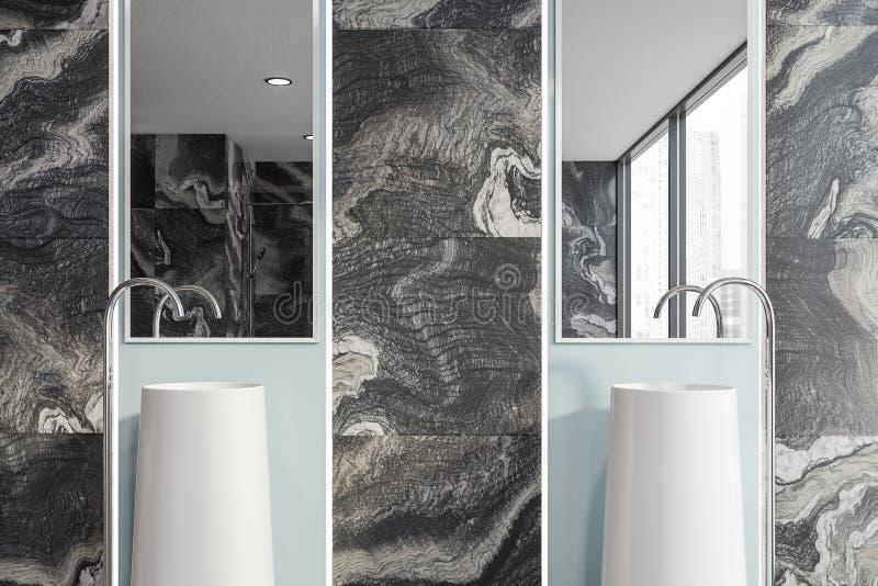 Fermez-vous de la salle de bains de marbre noire avec l'?vier illustration stock