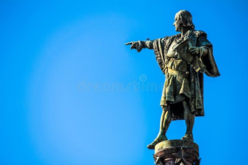 Fermez-vous de la statue de Christopher Columbus photographie stock