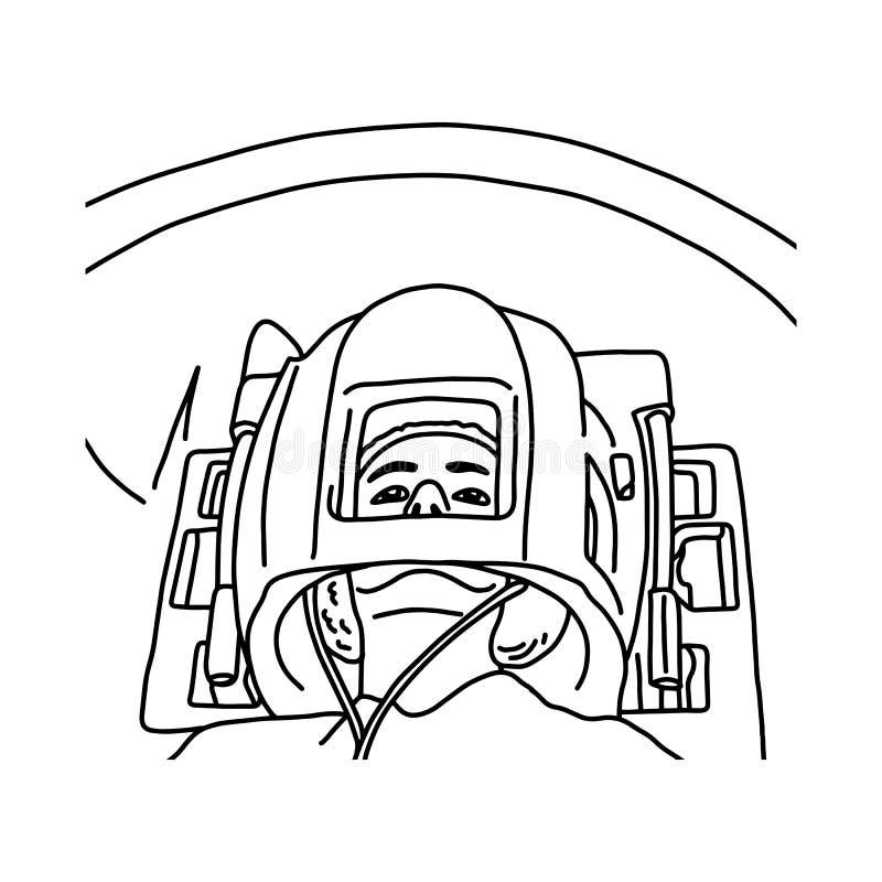 Fermez-vous de la tête patiente dans le sket d'illustration de vecteur de scanner d'IRM illustration libre de droits