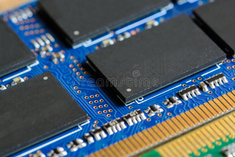 Fermez-vous de RAM Computer Memory Chip Modul photo libre de droits
