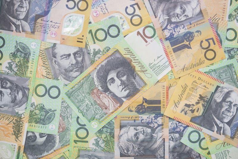 Fermez-vous des billets d'un dollar australiens photographie stock