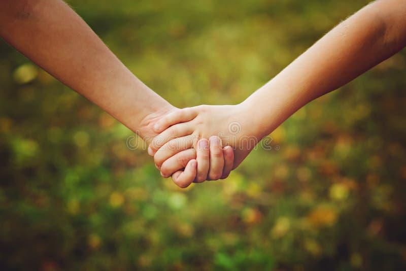 Fermez-vous des enfants jugeant sa main en parc d'été extérieure photographie stock libre de droits