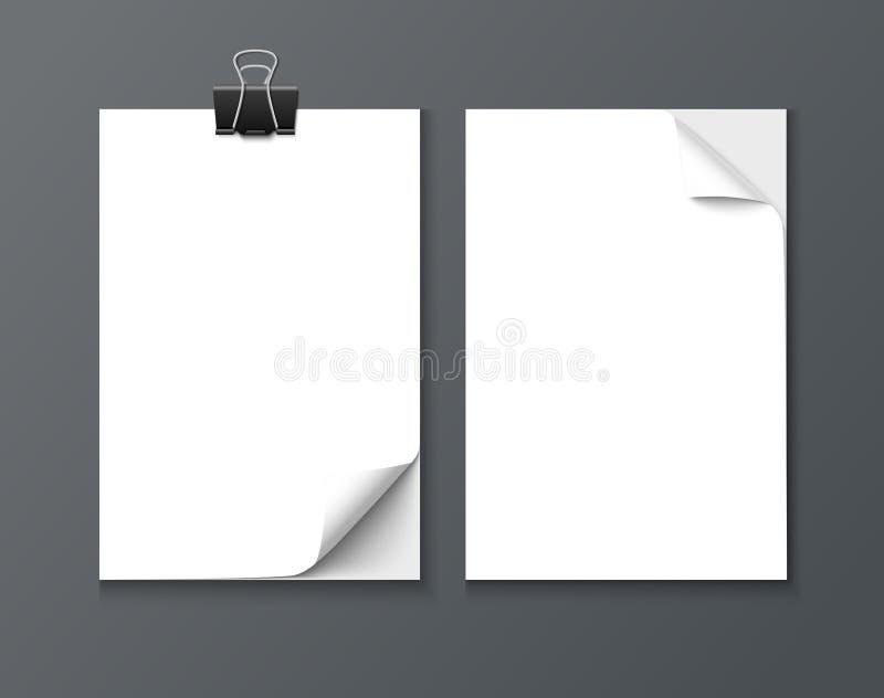 Fermez-vous des feuilles d'un papier avec le bord courbé sur le fond foncé illustration de vecteur