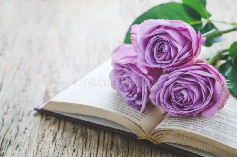 Fermez-vous des fleurs violettes de rose de pourpre et du livre ouvert avec le vint photos stock