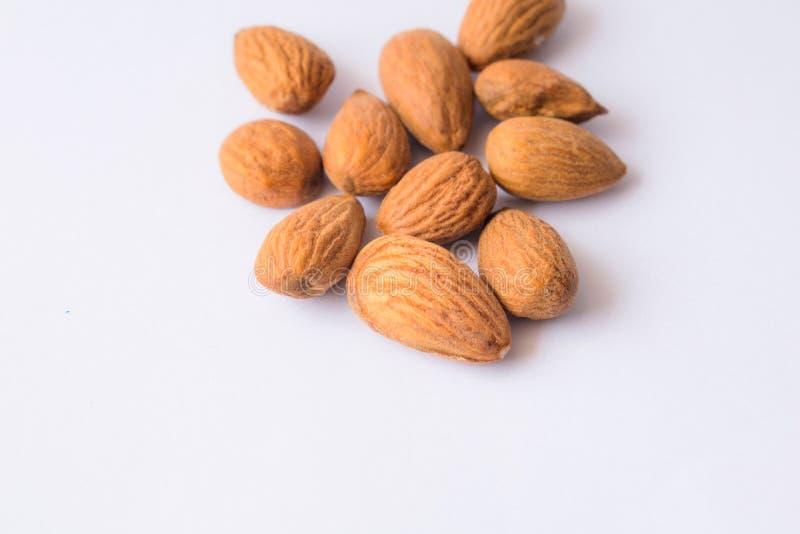 Fermez-vous des graines brunes d'amandes d'isolement sur le fond blanc photo stock