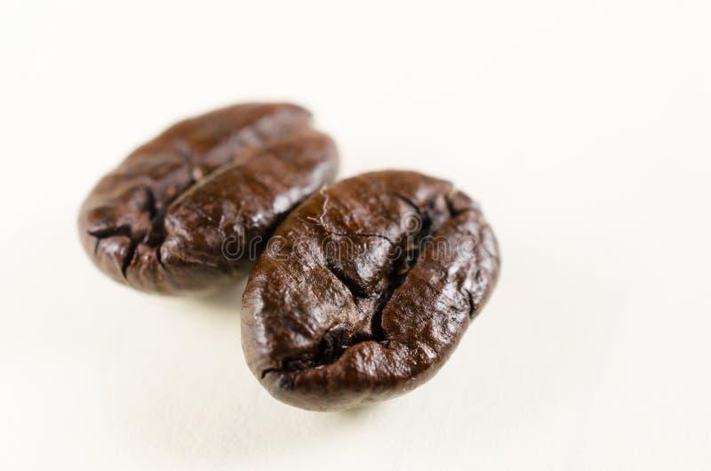 Fermez-vous des grains de café rôtis d'isolement sur le blanc photos stock