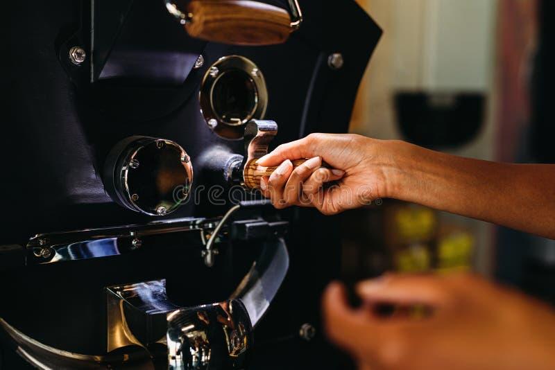 Fermez-vous des mains d'une femme versant des grains de café photo libre de droits