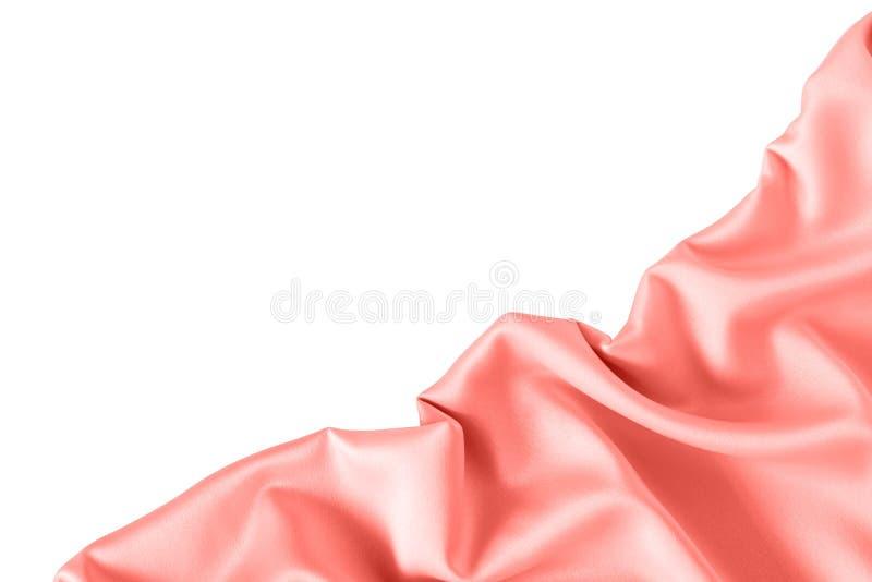 Fermez-vous des ondulations sur le tissu en soie dans la couleur rose de corail image stock