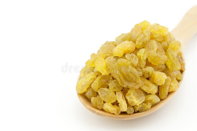Fermez-vous des raisins secs d'or dans la cuillère sur le fond blanc photos stock