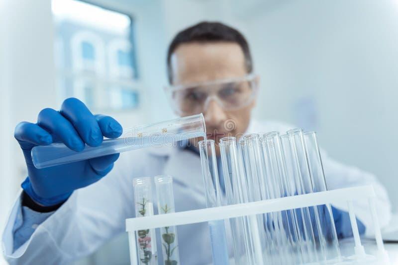 Fermez-vous des tubes à essai pendant une expérience micro de biologie photo stock