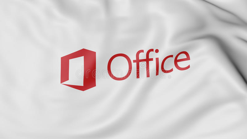 Fermez-vous du drapeau de ondulation avec le logo de Microsoft Office, le rendu 3D illustration stock