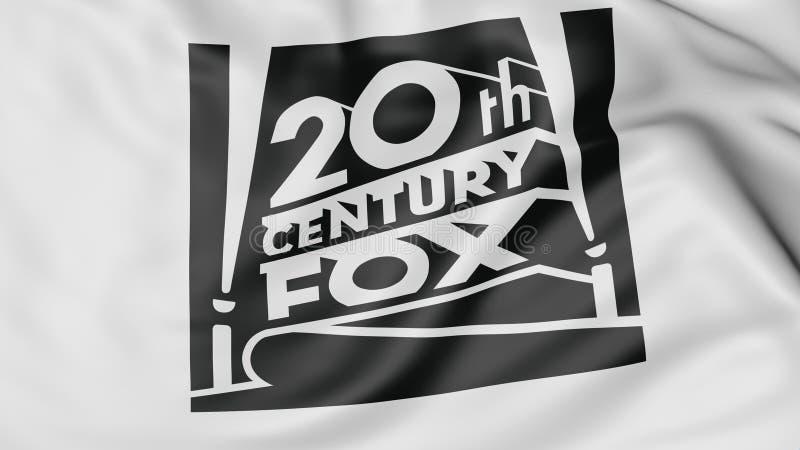 Fermez-vous du drapeau de ondulation avec le logo du 20ème siècle de Fox Film Corporation, le rendu 3D illustration stock