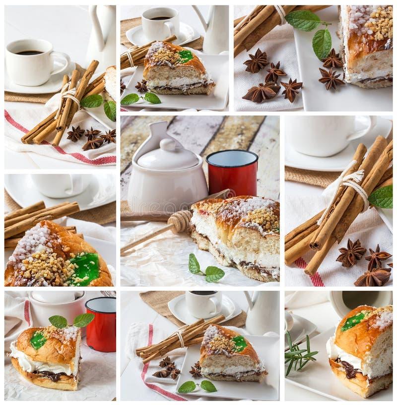 Fermez-vous du gâteau de forme annulaire avec du sucre glace, écrémez, monnayez, cinn photos stock
