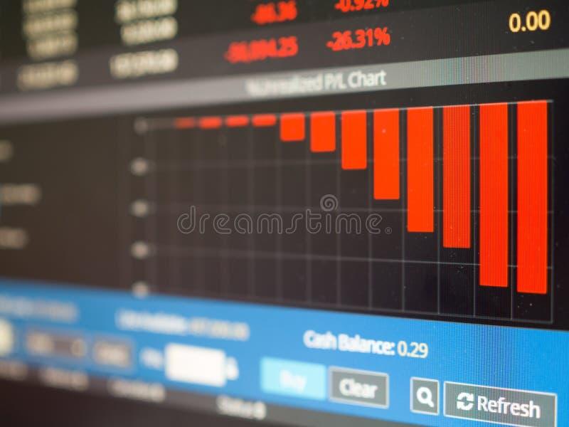 Fermez-vous du graphique de marché boursier allant vers le bas sur le rouge photographie stock