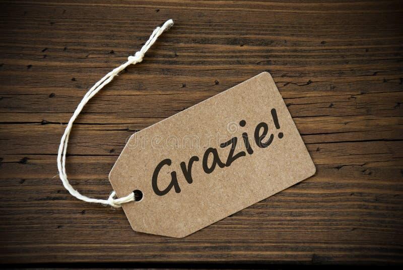 Fermez-vous du label avec le texte italien Grazie photographie stock libre de droits