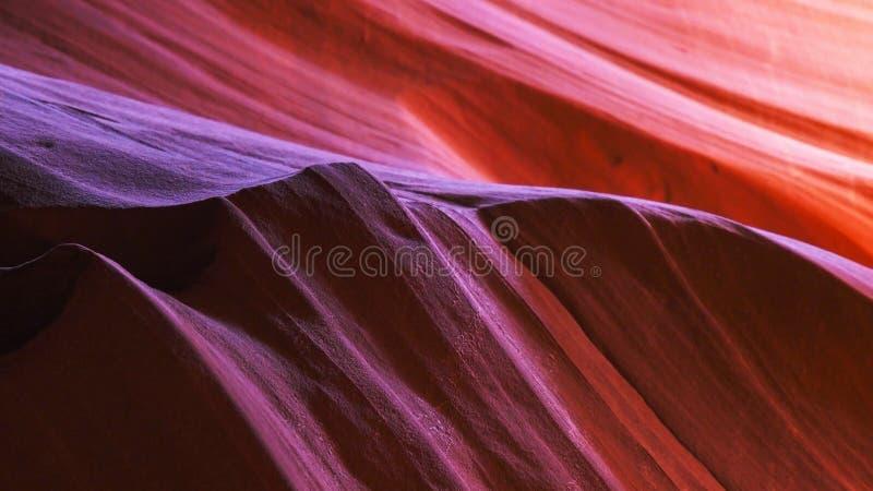 Fermez-vous du mur admirablement allumé de grès en canyon supérieur d'antilope, az image libre de droits