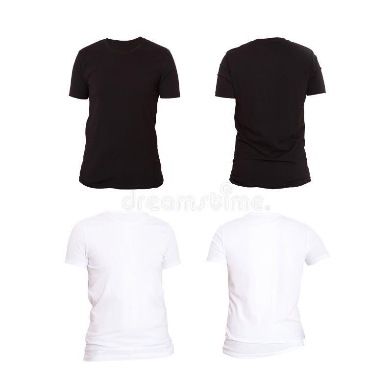 Fermez-vous du T-shirt noir et blanc de blanc de l'homme d'isolement sur le fond blanc Moquerie vers le haut des chemises Ensembl photos stock