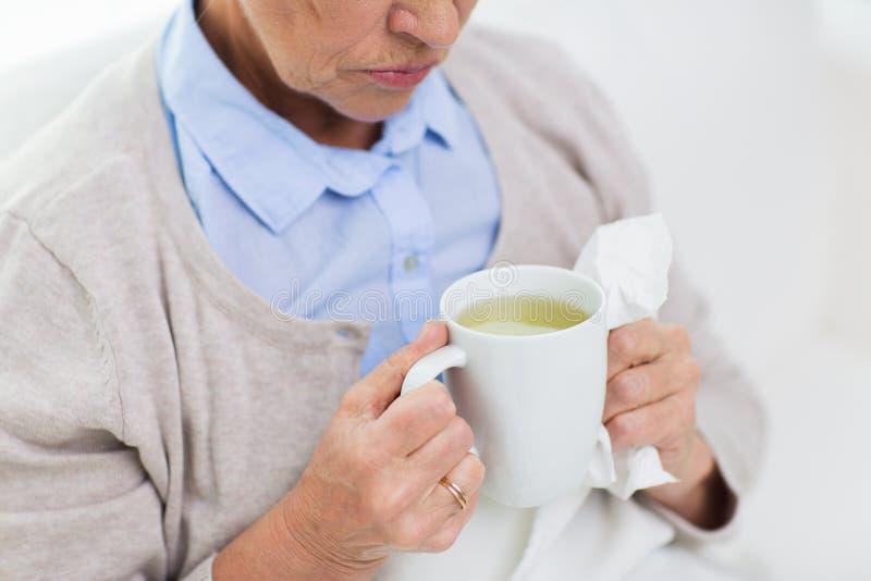 Fermez-vous du thé potable de femme supérieure malade à la maison photographie stock libre de droits