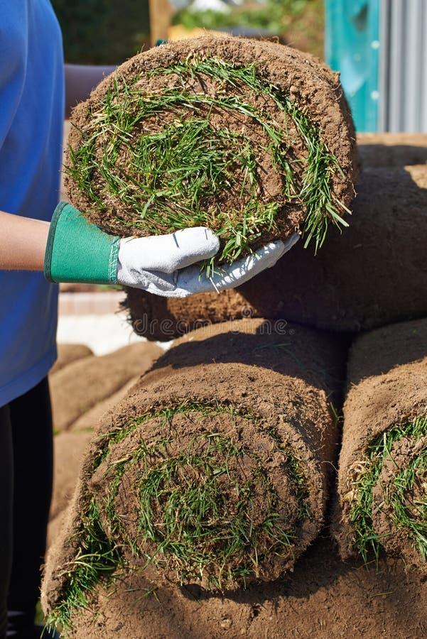 Fermez-vous pelouse de Laying Turf For de jardinier de paysage de la nouvelle images stock