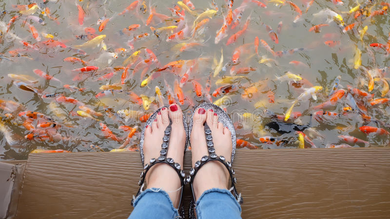 Fermez-vous sur des pieds du ` s de fille portant les sandales argentées et les clous rouges avec la natation de fantaisie de car image stock