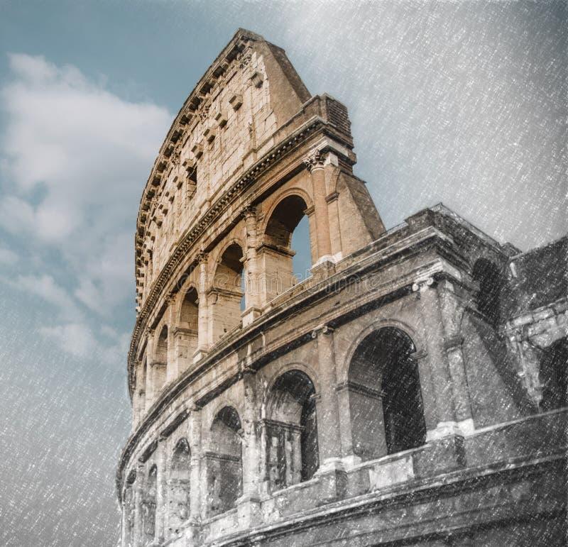 Fermez-vous sur le colloseum romain à Rome, Italie, croquis à l'effe de photo images stock