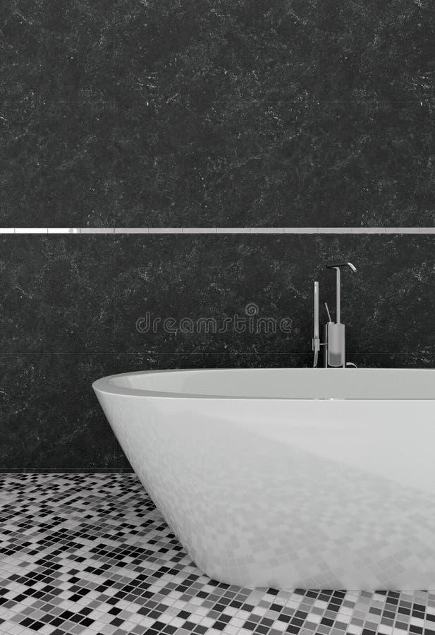 Fermez-vous sur une baignoire en céramique blanche ovale moderne illustration libre de droits