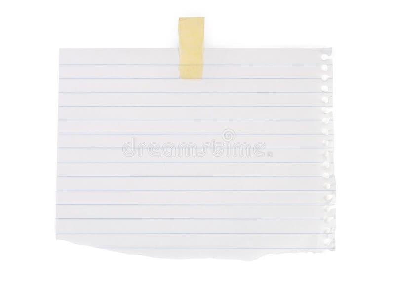 Fermez-vous vers le haut d'un papier de note blanc images stock