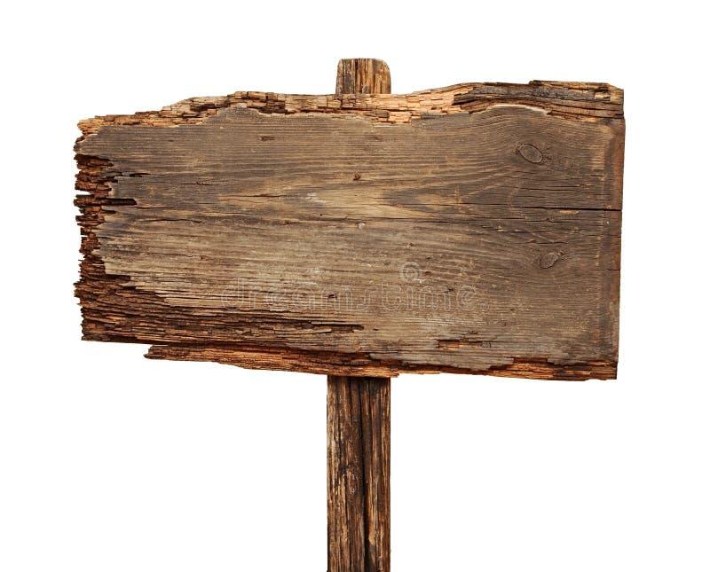 Fermez-vous vers le haut d'un signe en bois vide photo stock