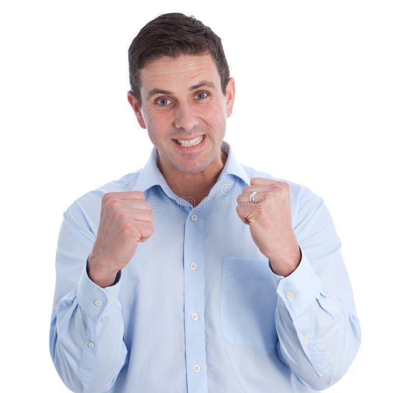 Fermez-vous vers le haut de l'homme d'affaires heureux avec le poing serré images libres de droits