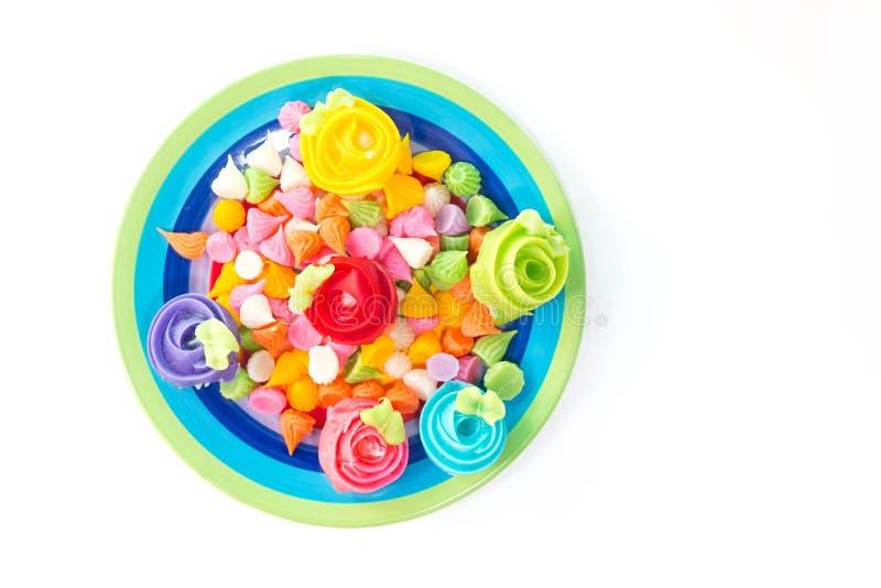 Fermez-vous vers le haut de l'image du dessert, bonbon, sucrerie, caramel photographie stock libre de droits
