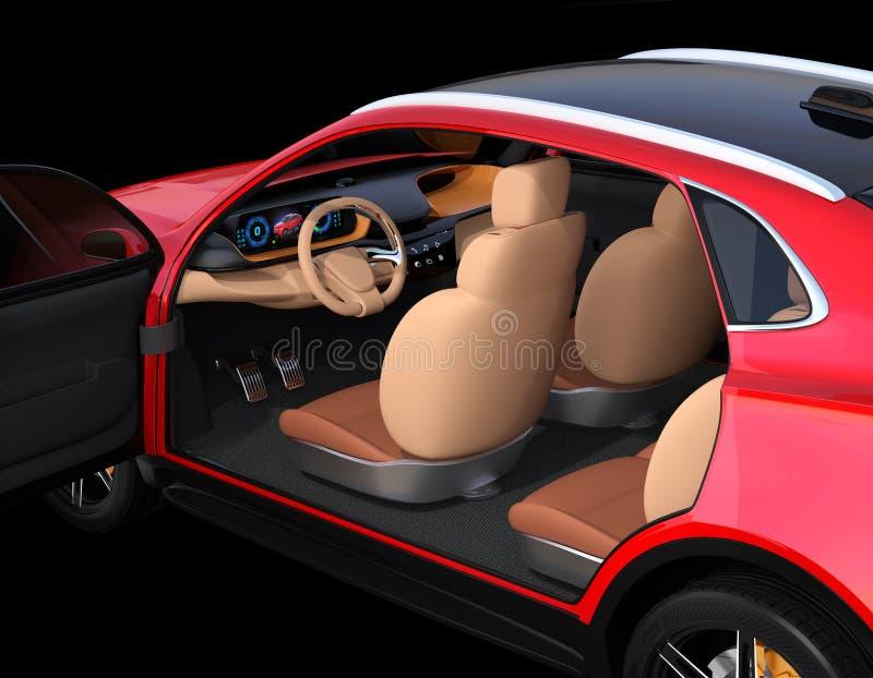 Fermez-vous vers le haut de l'intérieur électrique rouge métallique de SUV sur le fond noir illustration de vecteur