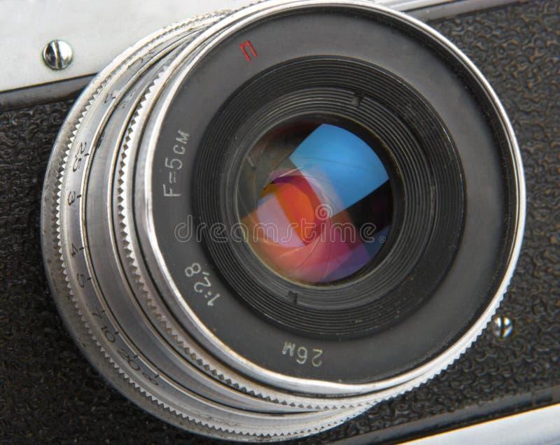 Fermez-vous vers le haut de l'objectif de caméra. photo stock