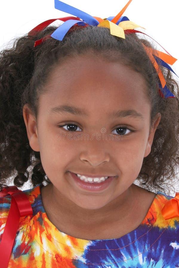 Fermez-vous vers le haut de la belle fille de six ans image libre de droits