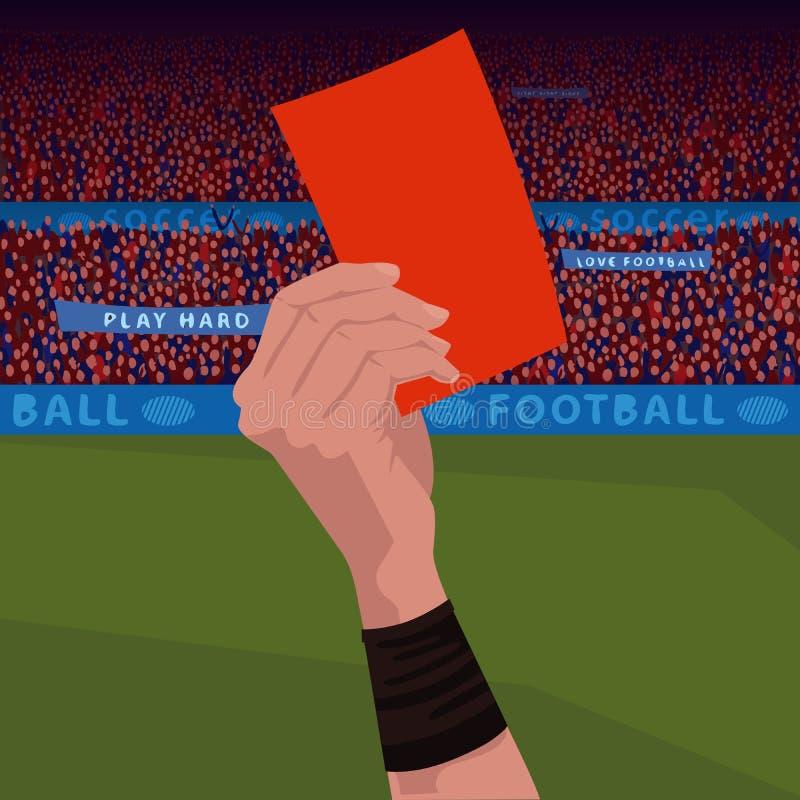 Fermez-vous vers le haut de la main tenant la carte rouge illustration de vecteur