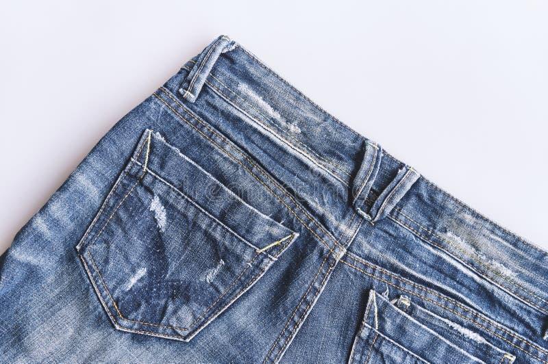 Fermez-vous vers le haut de la texture de blues-jean Poche de jeans de denim photo stock