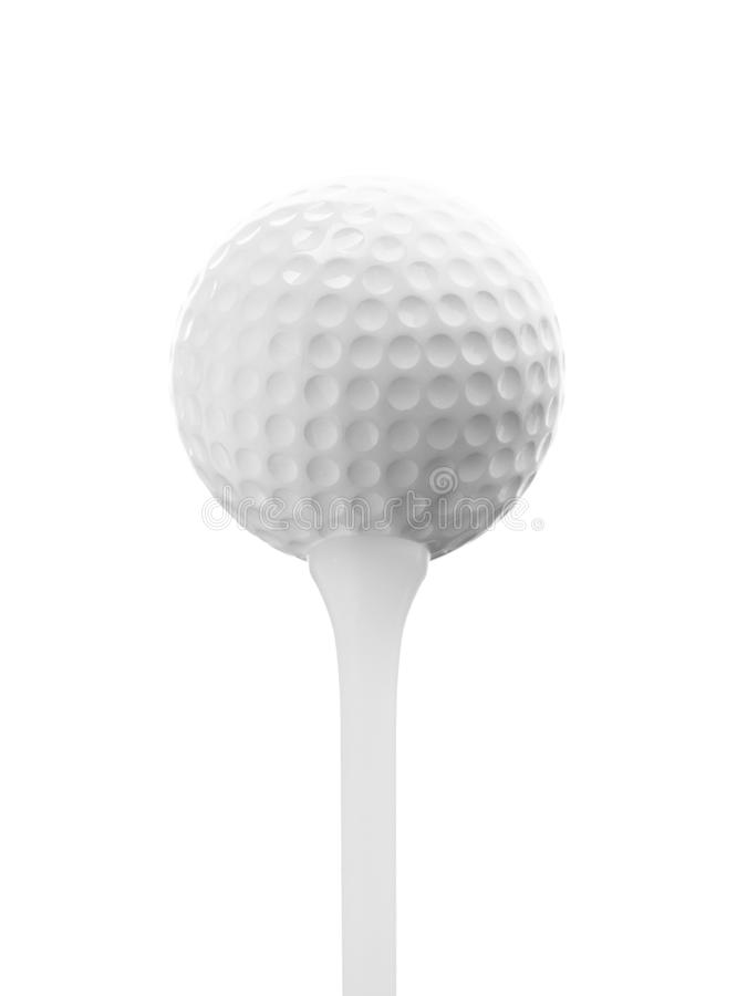 Fermez-vous vers le haut de la texture de bille de golf sur le fond blanc images stock