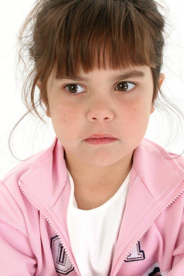 Fermez-vous vers le haut de la vieille fille de cinq ans triste image libre de droits