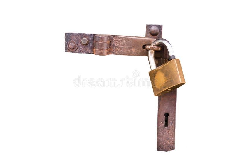 Fermez-vous vers le haut de la vue d'un cadenas sur le fond d'isolement par blanc photo libre de droits