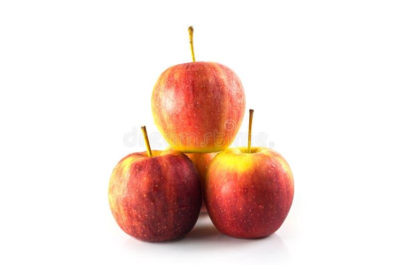 Fermez-vous vers le haut de la vue de quelques pommes rouges d'isolement sur un fond blanc photographie stock libre de droits