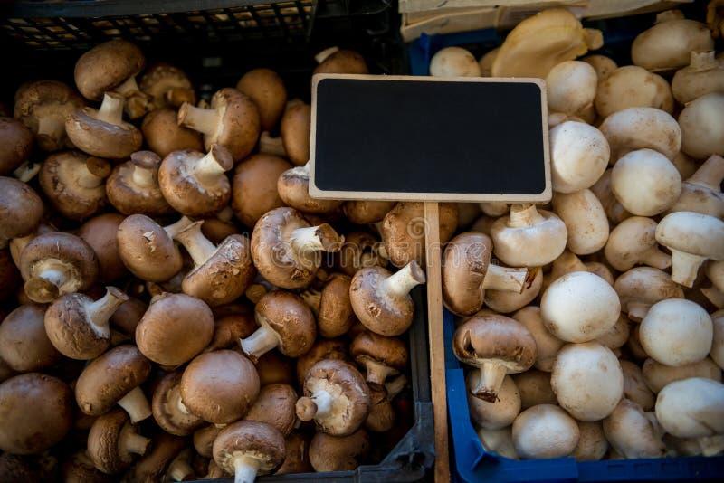 fermez-vous vers le haut de la vue du conseil et des champignons de paris noirs vides images stock
