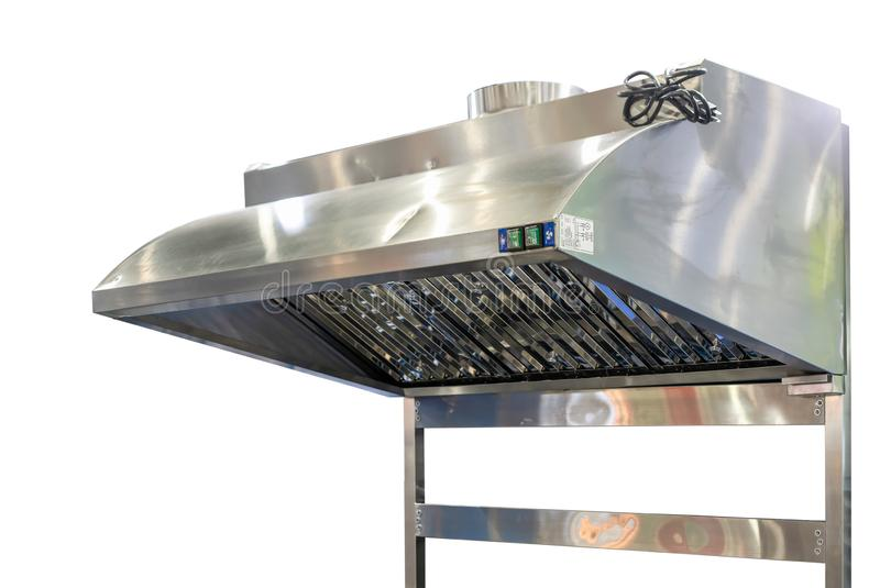 Fermez-vous vers le haut de moderne du capot de cuisine fait à partir d'inoxydable pour la poussière et la fumée d'échappement d' photographie stock libre de droits