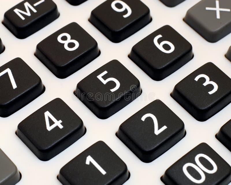 Fermez-vous vers le haut du clavier numérique de calculatrice photographie stock