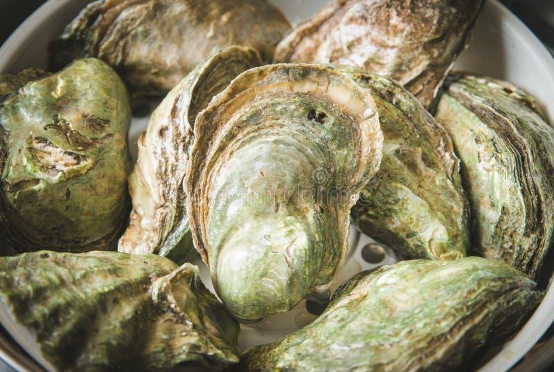 Fermez-vous vers le haut du crochet frais de plusieurs huîtres crues à l'affichage au détail du marché de pêcheur, fin, la vue co photographie stock