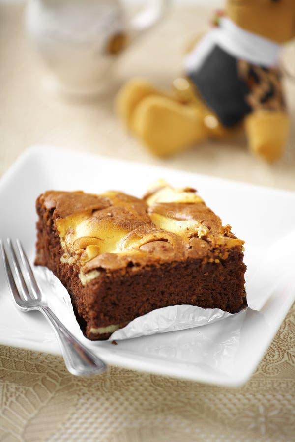 Fermez-vous vers le haut du gâteau de chocolat images stock