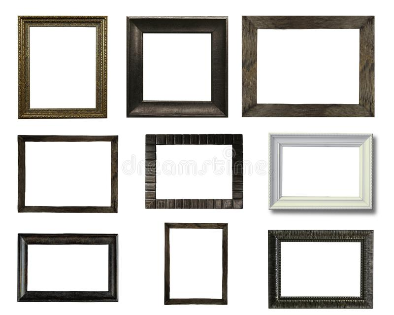 Fermez-vous vers le haut du groupe du cadre de tableau en bois de vieux vintage photo stock
